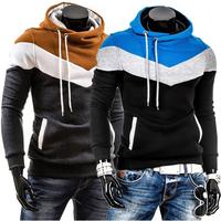 New Fashion Autumn Winter Men's Hoodies Patchwork colors Sports Casual Men's Sweatshirts Hooded collar men jackets coats