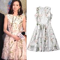 2015 Spring Summer New Fashion Women Dress Vintage Floral Print Sleeveless Pleated Mini Dress For Female 493V02