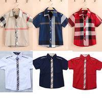 Infantil Short Sleeve Shirt For Kids Boys Plaid Clothes Wear Fit 2-6yrs Summer Tops Cool New Brand Shirt 100cotton 217