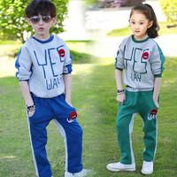 New 2014 Kids Clothes Sets Fashion Leisure Children's Sports Suit Boys Girls Clothing Both Sides Wear Spring Autumn 2pcs Set