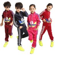 New 2014 Brand Children's Sports Suit Fashion Leisure Kids Tracksuits Spring Autumn Boys Girls Clothing Sets 2pcs Set 3-13