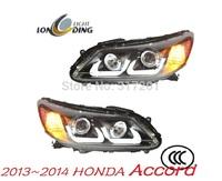 Free Ship!LongDing 2013~2014 HO.NDA A-ccord headlight with Bi-xenon projector len&HID,CCFL;Option Ballast(Choose price correct