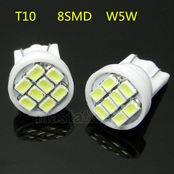 4pcs/lot T10 8 SMD 194 168 192 W5W 1206 Auto LED Car Light White 3020 Wedge Light Bulb Lamp Styling(China (Mainland))