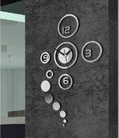 4 Numbers Beautiful Rounds Circles Art Mordern DIY Removable 3D Crystal Mirror Wall Clock Wall Sticker Living Room Bedroom Decor