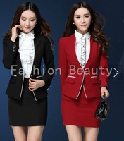 New 2014 Femininos Uniform Style Professional Business Work Wear Suits Tops And Skirt For Ladies Office Beautician Blazers Set