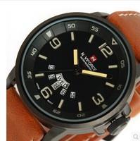 NAVIFORCE NEW Military Army Mens Quartz Analog Wristwatch Brown Men Sport Watch Free Shipping