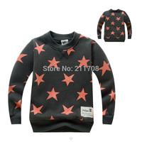 2014 fashion Children boy girl star T shirts new kids autumn/winter fleece t shirt patchwork blue/coffee long sleeve tops