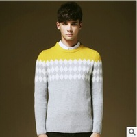 2014 New Arrival Men's Fashion V-neck Pullover Casual Splicing M-XXL Sweater Autumn Winter Wear Free Shipping #NB104