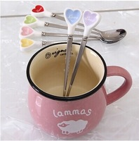 Free shipping 1Lot=6piece zakka ceramic spoon love spoon heart coffee stainless steel long spoon