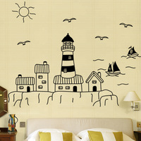 Nine children room nine wall stick a big size children's clothing store sailing seagulls sun stickers 91147 castle