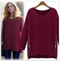 Camisola 2014 Autumn Women Sweater Long Sleeve Pullovers Winter Sweater Celebrity Style Zipper Knitted Casual Vestidos Femininos