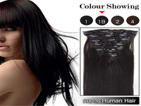 #1B Off black clip in human hair extensions Brazilian remy human hair straight15-22inch 7pcs clip in hair extensions