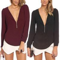 2014 Summer New Sexy Trends Zipper Women V-neck Casual Chiffon Long Sleeved Shirt Blouse Tops