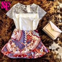 2014 Fashion New Women Embroidery short-sleeved Chiffon Shirts Lace flower Blouse Lady Casual Basic blusas Women's clothing^&
