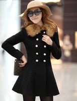 Fashion Ladies 2014 Elegant Long Sleeve Slim Woollen Coat Double Breasted Winter Women Coats hf136