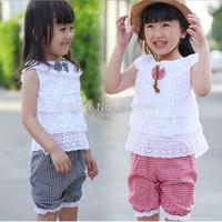 Retail ! 1 sets children's clothing sets kids girls' clothes short sleeve top+ shorts 2-pieces suit Little Spring GLZ-T0240