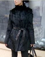 Customized women winter fur coat patchwork female mandarin high collar medium-long real natural rabbit fur coat  WTP2