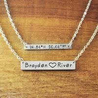 Custom set bar necklace with coordinates  longitude  latitude names pendant,  personalized engraved horizontal bar necklace