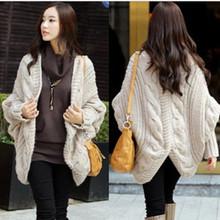 2014 mujeres de invierno de la caída y la ropa de moda la venta la manga del palo de la rebeca de aguja de tejer chal damas suéter grueso abrigo(China (Mainland))
