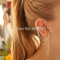 Women Girl Stylish Punk Rock Leaf Chain Tassel Dangle Ear Cuff Wrap Earring 2014 New free shipping