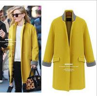 New 2014 Winter Woolen coat casual Women Slim one button long sections wool outerwear