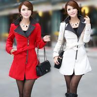 2014 New Arrival Women Winter Coat Casual Long Sleeve Winter Woolen Coat Turn Down Collar Long Woolen Jacket Plus Size