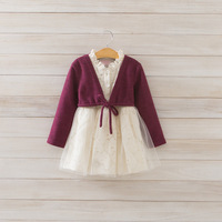 2014 New autumn,girls lace princess dress,children floral dress,long sleeve,red/green,5 pcs/lot,wholesale,1823