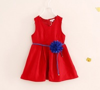 Best Quality Spring Fall Thicken Solid Grain Sleeveless Girls Vest Dress With Big Flower Belt Baby Kids Dresses 3-10years