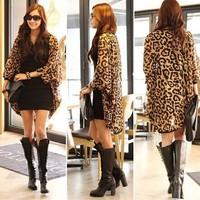 womens tops fashion 2014  leopard print  Bat sleeve Shawl sun protection clothing Long sleeve chiffon shirt camisas femininas
