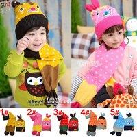 Cute Super 1set double layer kids Girl Hat scarf Sets, lovey Children's handmade Cap Scarf Sets