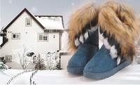 2014 Russian Women Winter Snow Boots Genuine Leather Outdoors Shoes Fox Wool Waterproof EU SIZE 35,36,37,38,39