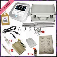 DHL EMS free shipping professional cartridge intelligent digital permanent makeup kit Eyebrow Lip tattoo machine kit with 10 ink