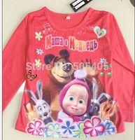 Free Shipping! 2014 New Design Russia Cartoon t shirts Masha and bear Long Sleeve Boys Girls peppa pig clothes Kids clothing