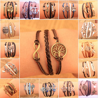 Wholesale Fashion Vintage Bird Tree Anchors Rudder Rope Owls Infinity Multilayer Leather bracelet jewelry for women 2014 M16