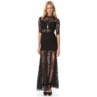 2014 fashion ladies lace sleeve high neck halter dress skirt dress new fall  women clothes hot sale print dress women Vestido