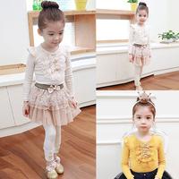 1Pcs Kids Girls Baby Long Sleeve T-shirt Cotton Ruffled Lace Bowknot Tops 1-4 Free Shipping