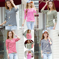 Korean Women's Striped Slim Long Sleeve casual Career V-Neck Tops Blouse T-shirt cloth008