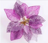 23cm Purple Silk Gauze and Silver Christmas Tree Decorations Christmas Flowers 6pcs