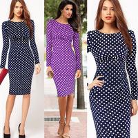 New 2014 Fashion Women Spring & Autumn Casual Polka Dot Dress Girls Cute Long Sleeve Slim Fit Pleated A-Line Dress
