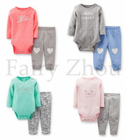 2014 Carters Original 100% Cotton Baby Girl's Long-sleeve  2-pcs Bodysuit Pants Legging Set