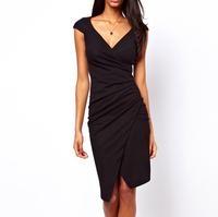 Sexy Bodycn Dress Black Dress Plicated Beam Waist Packet Buttock Asymmetrical Hem Polyester Solid Color Dress For Women