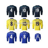 Top Thai Quality 14/15 Chelsea long sleeve home soccer Jersey Embroidery logo HAZARD OSCAR long sleeve jersey Soccer shirt