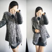 2015 Designed For Russian Female Faux Fox Fur Coat Leather Outerwear Overcoat /Women Black Coats