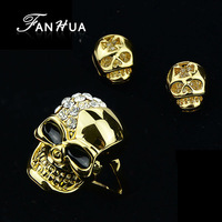 Imitation Ouro Jewelry Set Punk Rock Earrings and Rings with Skull Wholesale Anel and Brincos Factory Price