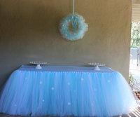 Frozen Snowflake Tutu Table Skirt Custom Winter Wonderland Tulle Tutu Table Skirt  Wedding Birthday Baby Shower Party Decoration