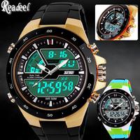 2014 New Digital Watch Men Analog Watch Silicone Analog Digital LED  Date Alarm Men's Sports Outdoor Quartz Wrist Military Watch