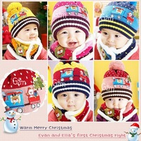 Baby Christmas Winter Scarf+Hat set 2 pieces Baby Boys Girls Knitted kids Hats & Caps 4 colors  Free shipping