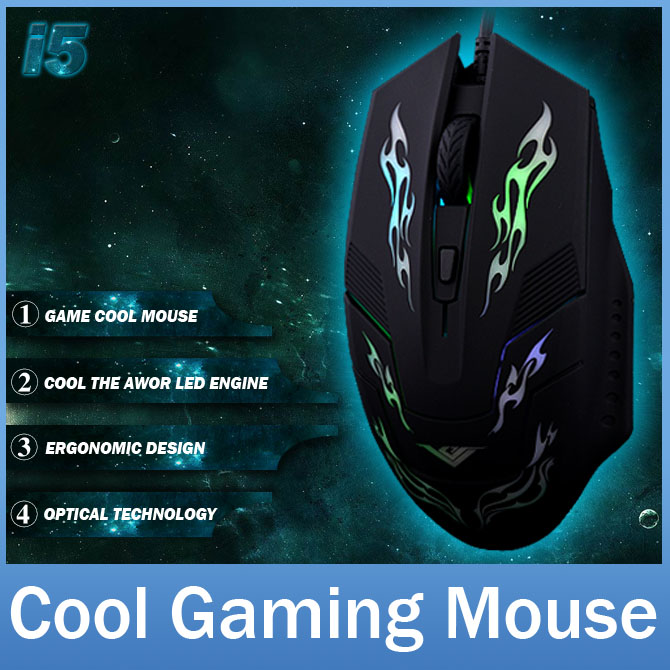 Brand i5A 3 Buttons Cool USB Wired Computer Gaming Gamer Mouse with LED Backlight Optical Mice For Laptop Notebook PC(China (Mainland))