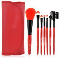 HOT Professional 7 pcs Makeup Brush Set tools wood Handle Red Make Up Brush Set Case pincel maquillaje Maquillage maquiagem
