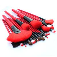 New 24 pcs Red Professional Makeup Brush face care Cosmetic Brushes & Good Quality PU Leather Bag pinceis maquiagem  feminina